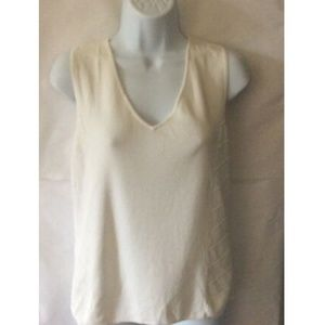 Cable & Gauge Women's White Top V-Neck Sleeveless